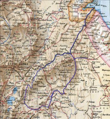 Маршрут моей  экспедиции в Абиссинию в 1913 году  (Реконструкция маршрута по полевому дневнику Н. Гумилева выполнена Юрием Чистовым)