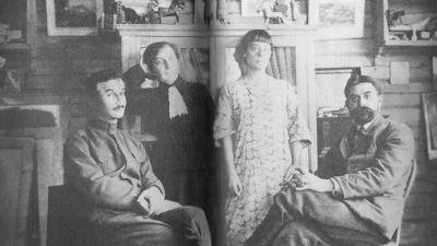 Это я с супругой. А также на фото мой  друг художник Фалилеев Вадим Дмитриевич(1879-1950) тоже с супругой.